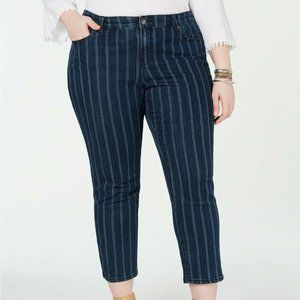 🌸 Style&Co. 20W Jeans Blue White Striped Ankle